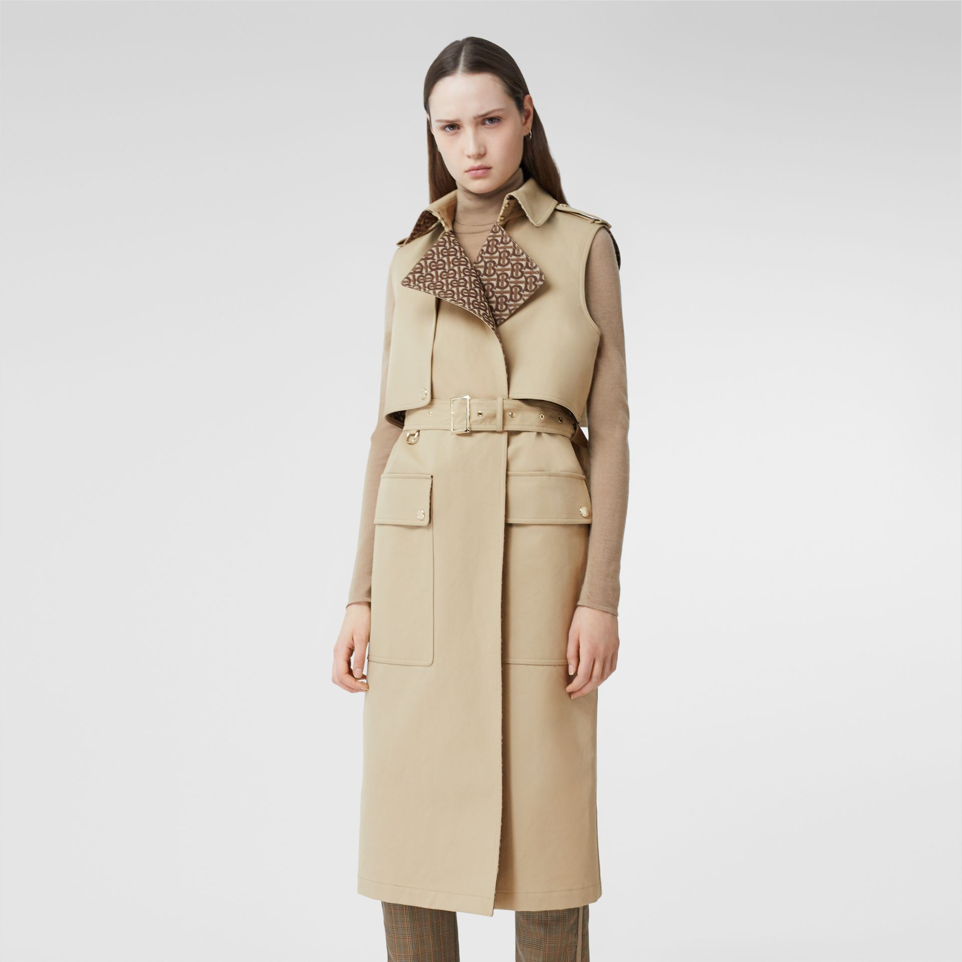 Sleeveless Monogram-lined Cotton Trench Coat in Honey - Women | Burberry - gallery image 0