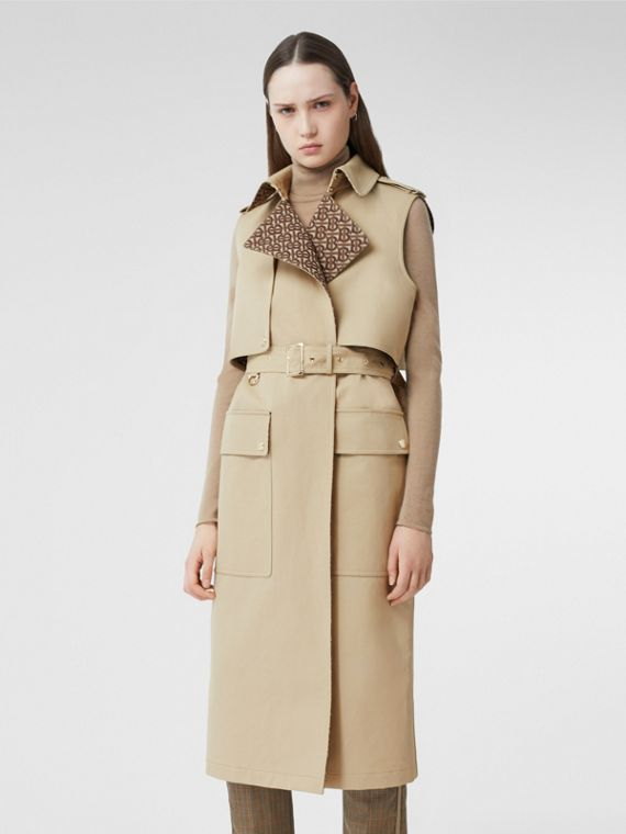Sleeveless Monogram-lined Cotton Trench Coat in Honey