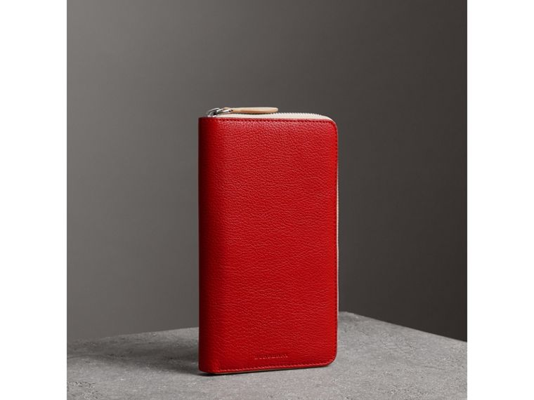Two-tone Leather Ziparound Wallet in Bright Red - Men | Burberry - cell image 4