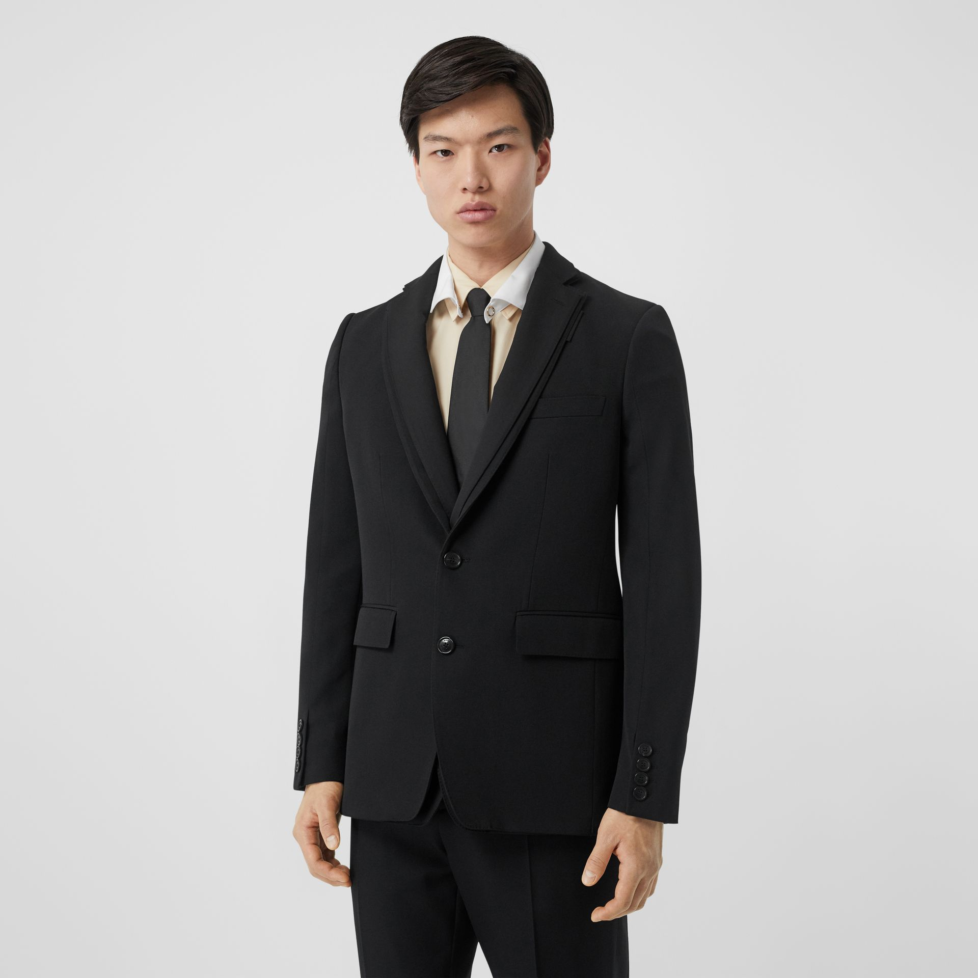 English Fit Reconstructed Wool Tailored Jacket in Black - Men | Burberry - gallery image 0