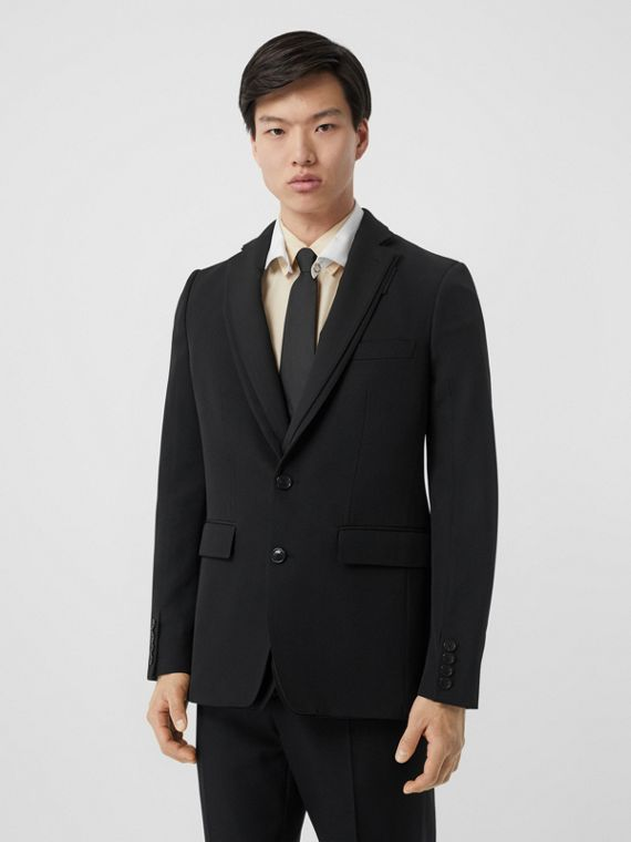 English Fit Reconstructed Wool Tailored Jacket in Black