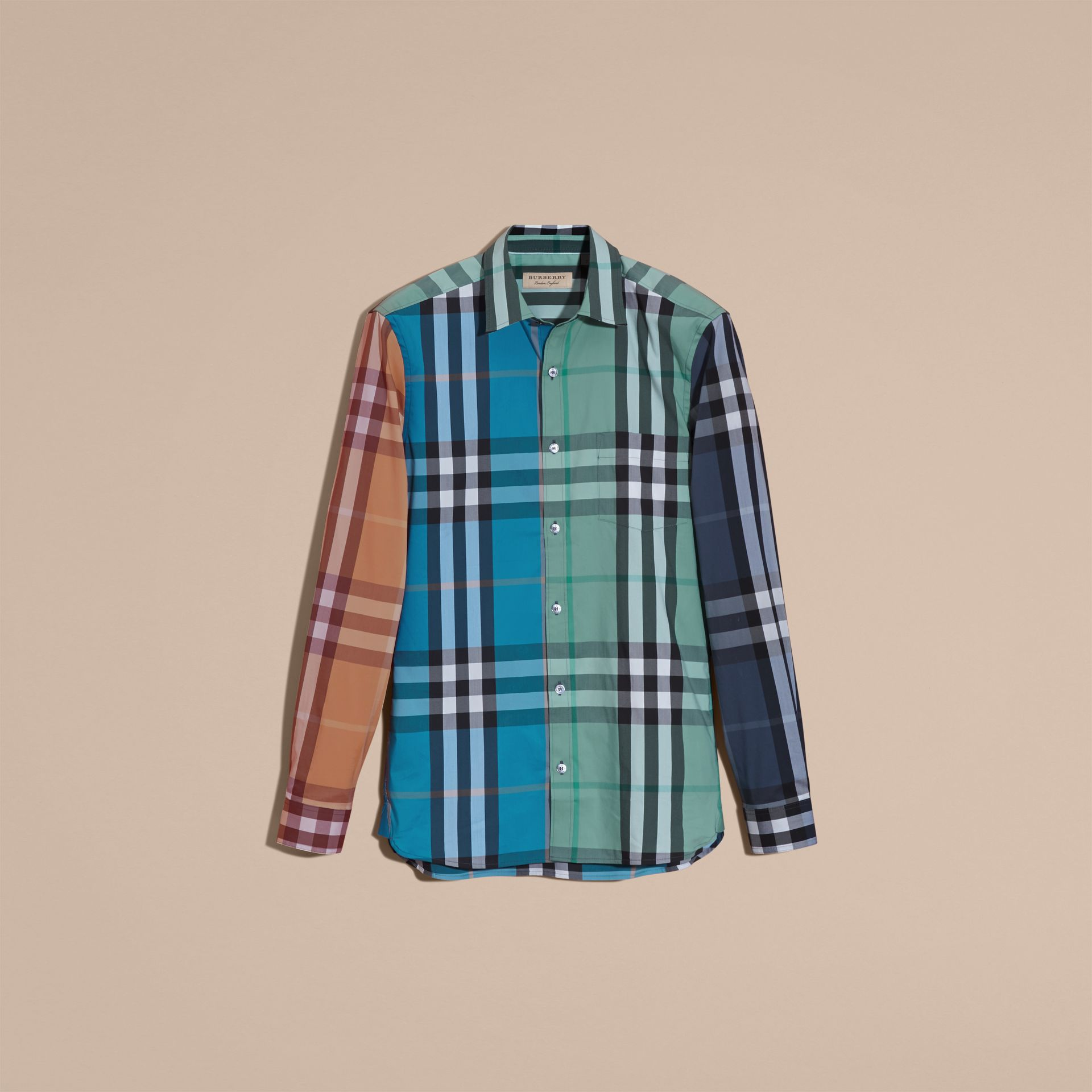 Cerulean blue Colour Block Check Cotton Blend Shirt Cerulean Blue - gallery image 4
