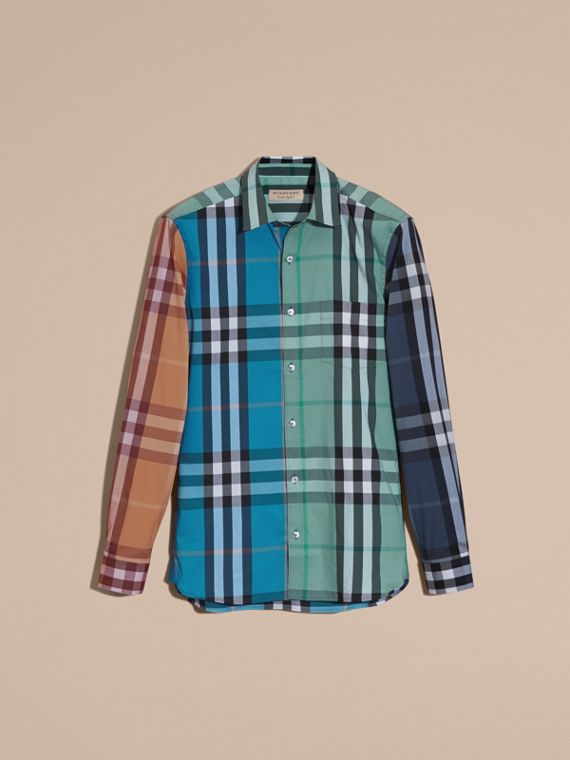Cerulean blue Colour Block Check Cotton Blend Shirt Cerulean Blue - cell image 3