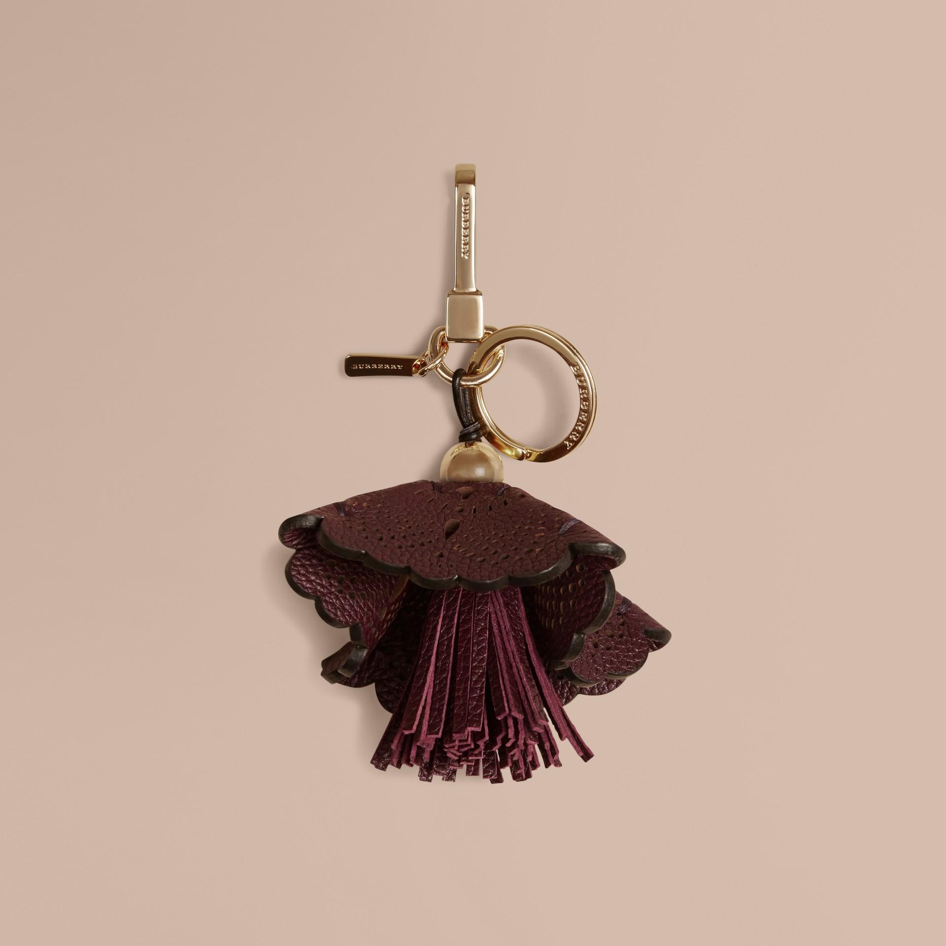 Dark amethyst Floral Leather Key Charm Dark Amethyst - gallery image 1