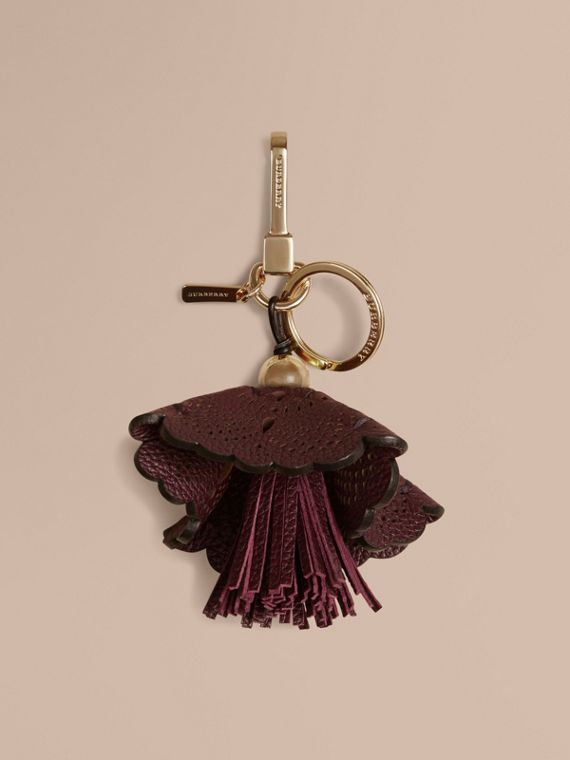 Floral Leather Key Charm Dark Amethyst