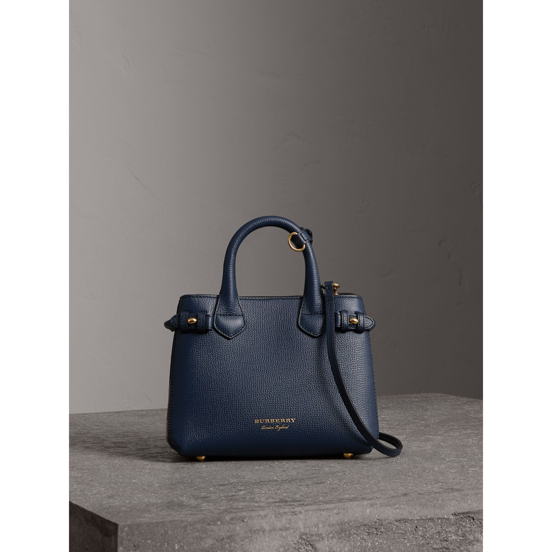 The Baby Banner in Leather and House Check in Ink Blue - Women | Burberry United States - gallery image 5