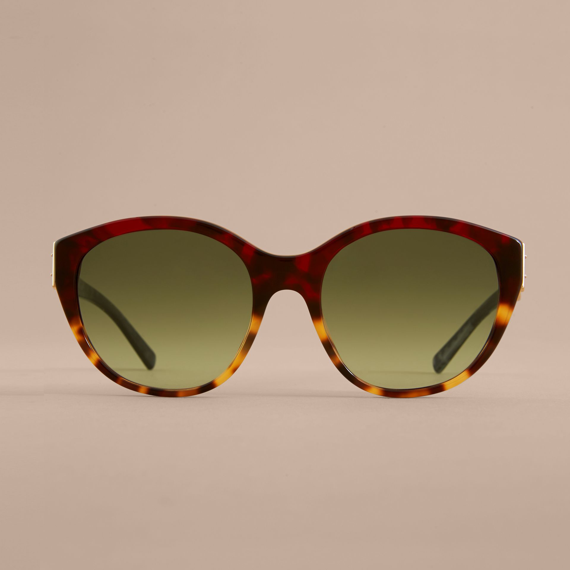 Buckle Detail Round Frame Sunglasses in Amber Yellow - Women | Burberry - gallery image 3