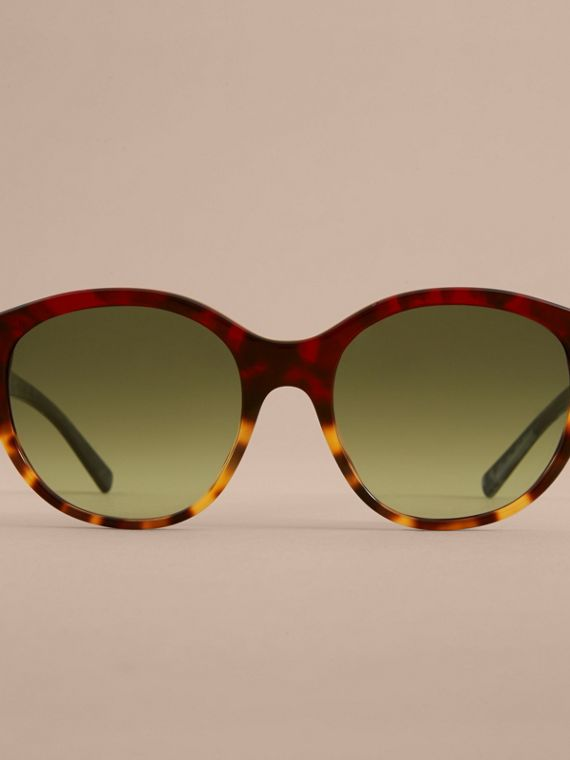 Buckle Detail Round Frame Sunglasses in Amber Yellow - Women | Burberry - cell image 2