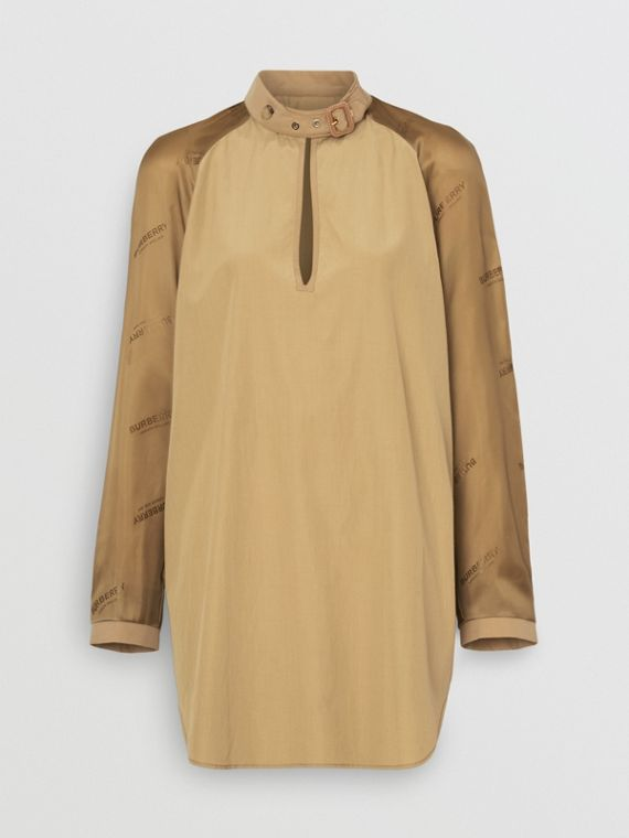 Cut-out Detail Silk Cotton Blouse in Pale Olive