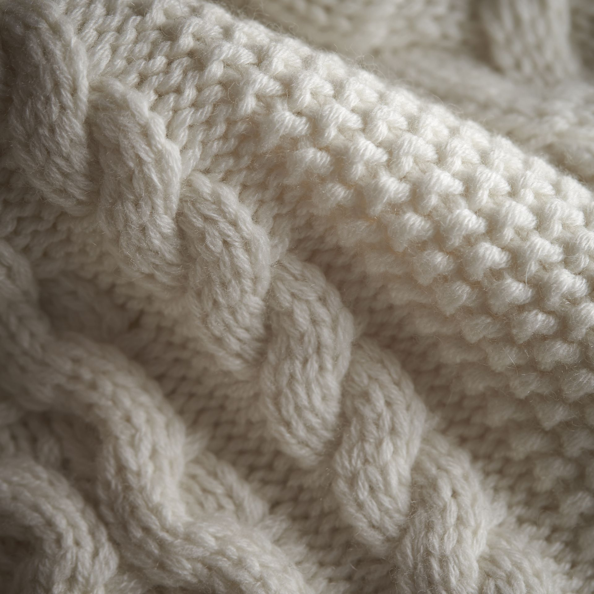 Cable Knit Wool Cashmere Cardigan in Natural White | Burberry - gallery image 2