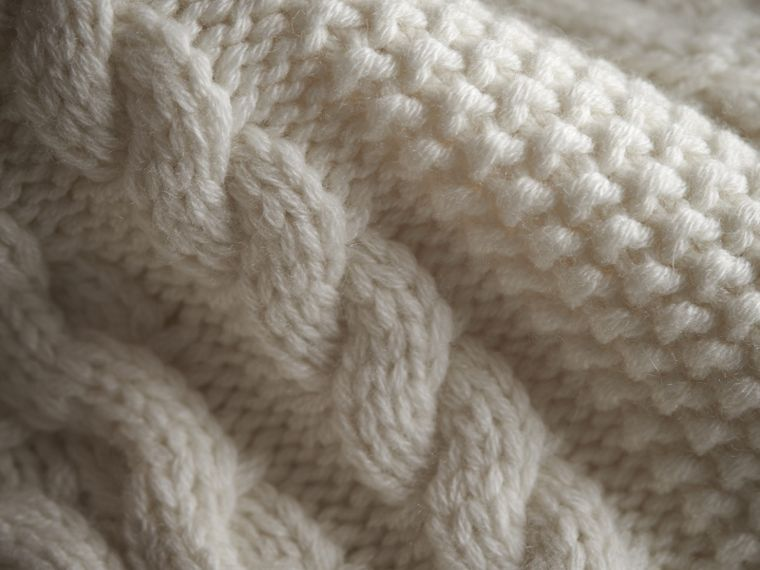 Cable Knit Wool Cashmere Cardigan in Natural White | Burberry - cell image 1