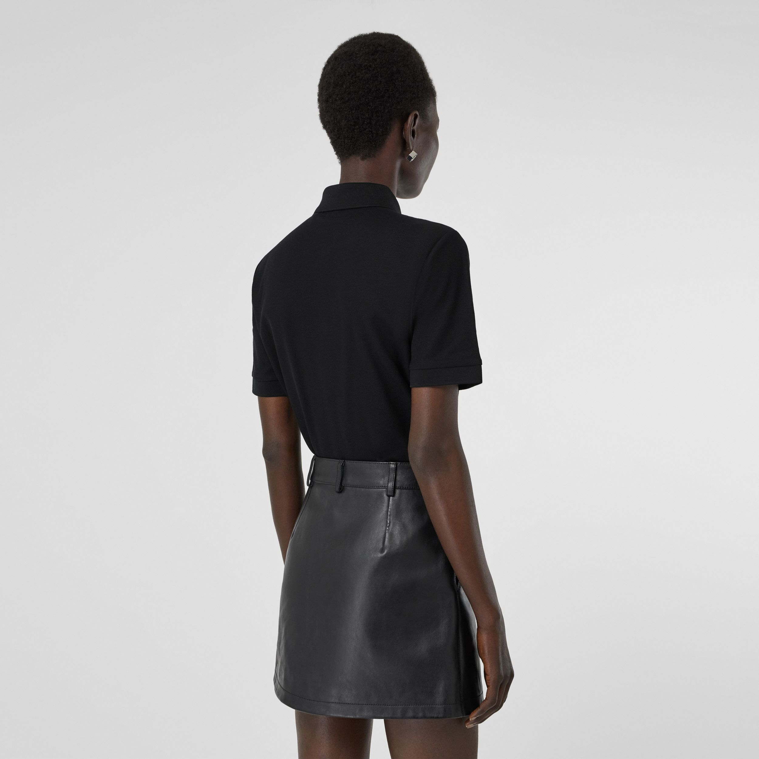 Monogram Motif Cotton Piqué Polo Shirt in Black - Women | Burberry Canada - 3