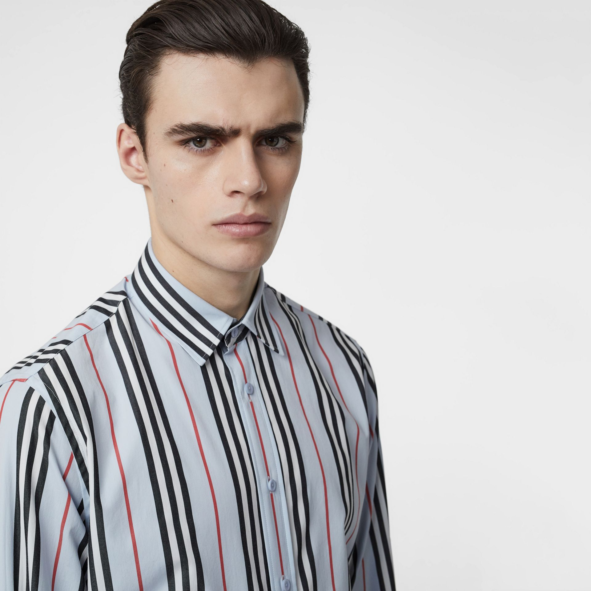 Icon Stripe Cotton Poplin Shirt in Pale Blue - Men | Burberry United States - gallery image 1