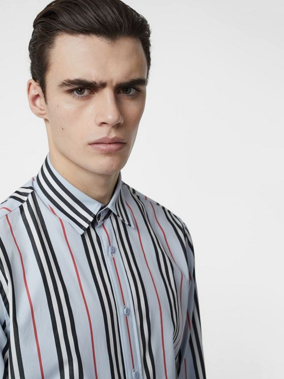 Icon Stripe Cotton Poplin Shirt in Pale Blue - Men | Burberry United States - cell image 1