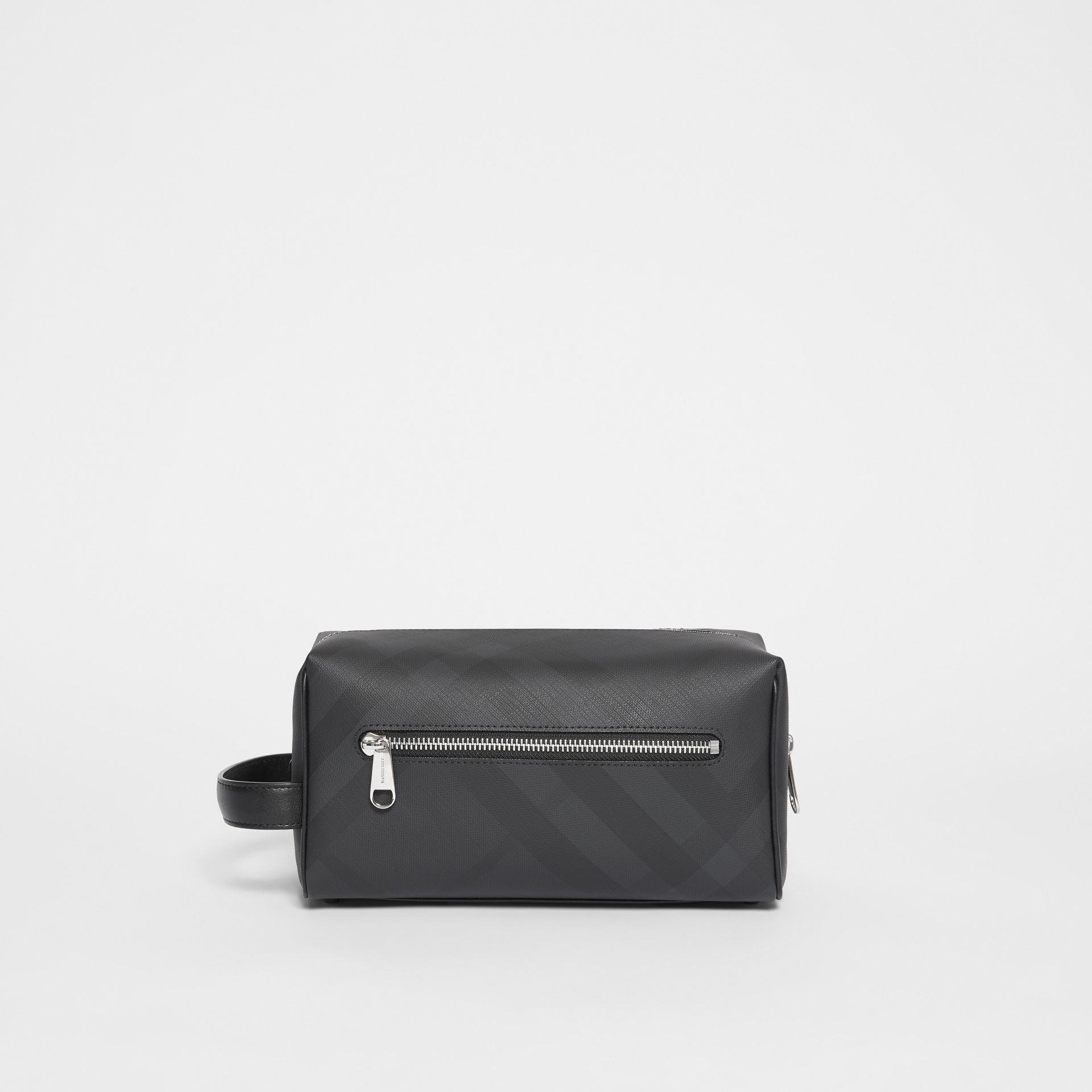 London Check and Leather Travel Pouch in Dark Charcoal - Men | Burberry - gallery image 7