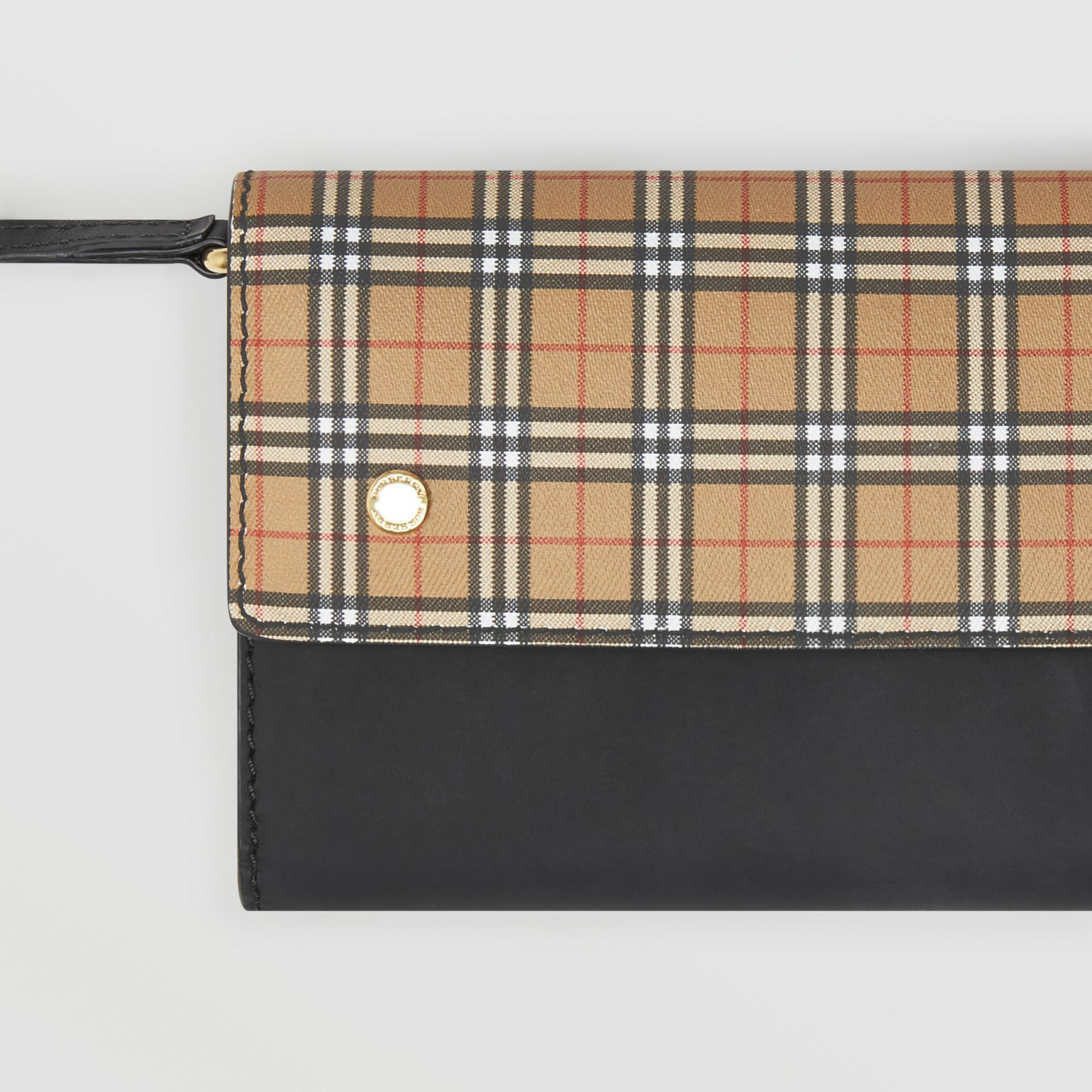 Small Scale Check Wallet with Detachable Strap in Antique Yellow - Women | Burberry - gallery image 1