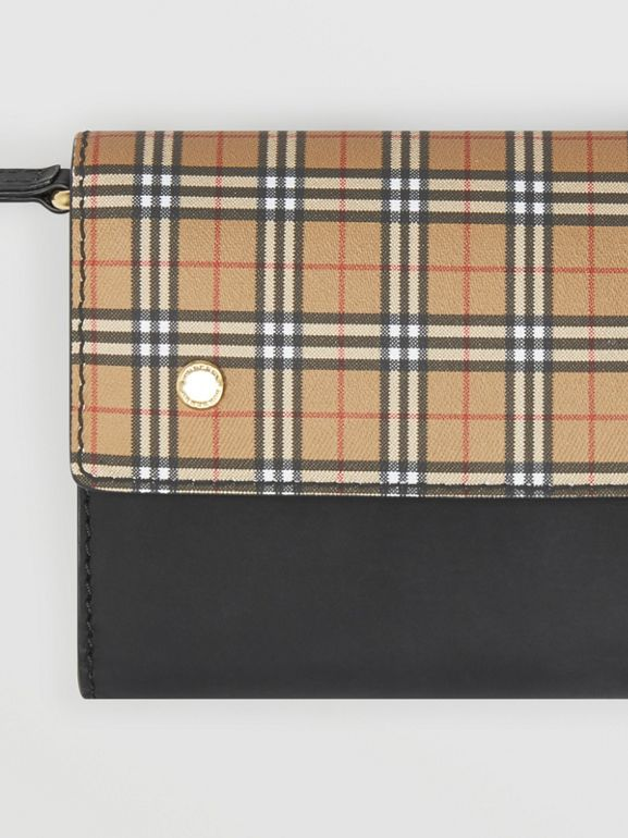 Small Scale Check Wallet with Detachable Strap in Antique Yellow - Women | Burberry - cell image 1
