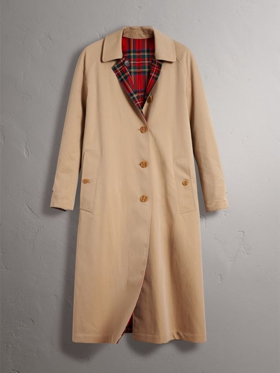 Reversible Gabardine and Tartan Wool Car Coat in Honey