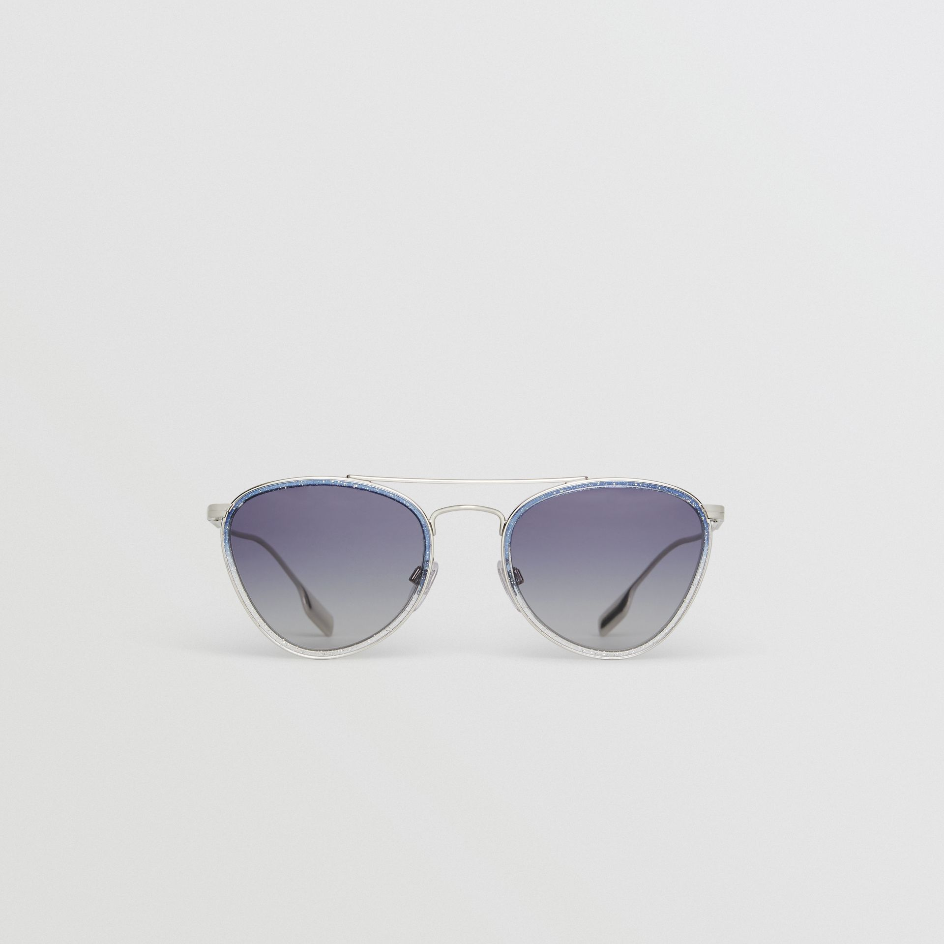 Glitter Detail Pilot Sunglasses in Blue - Women | Burberry - gallery image 0
