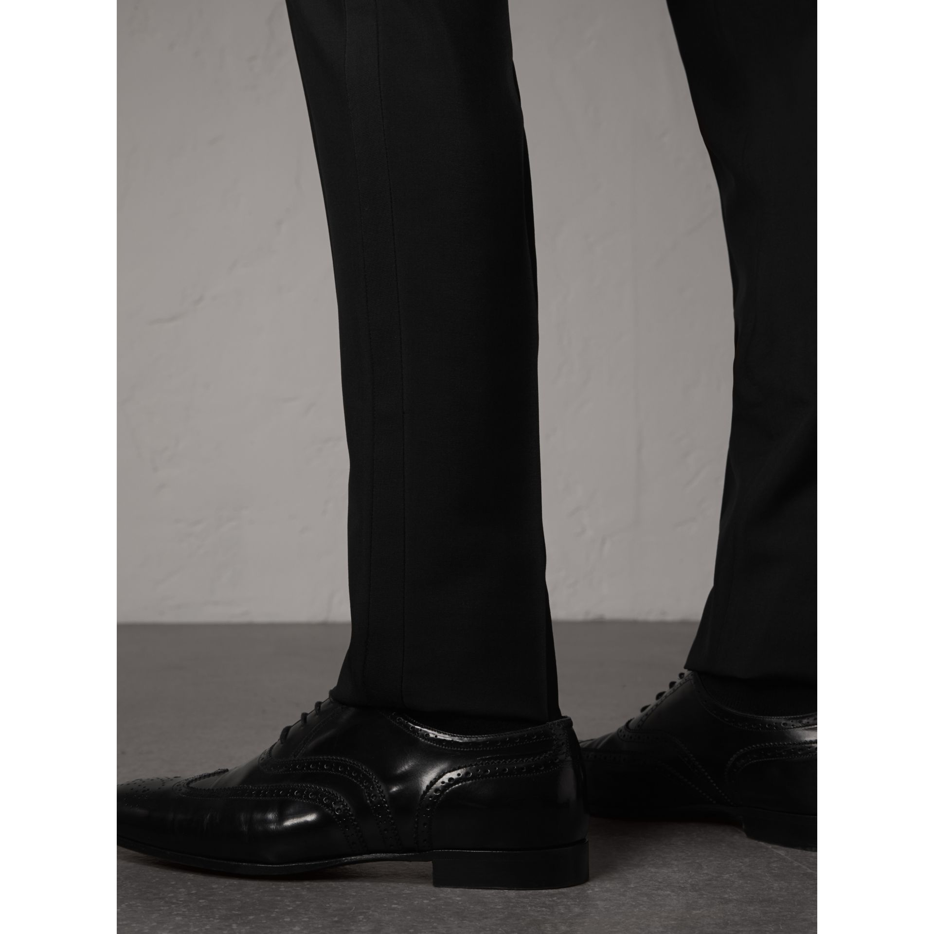 Slim Fit Wool Mohair Evening Trousers in Black - Men | Burberry Singapore - gallery image 1