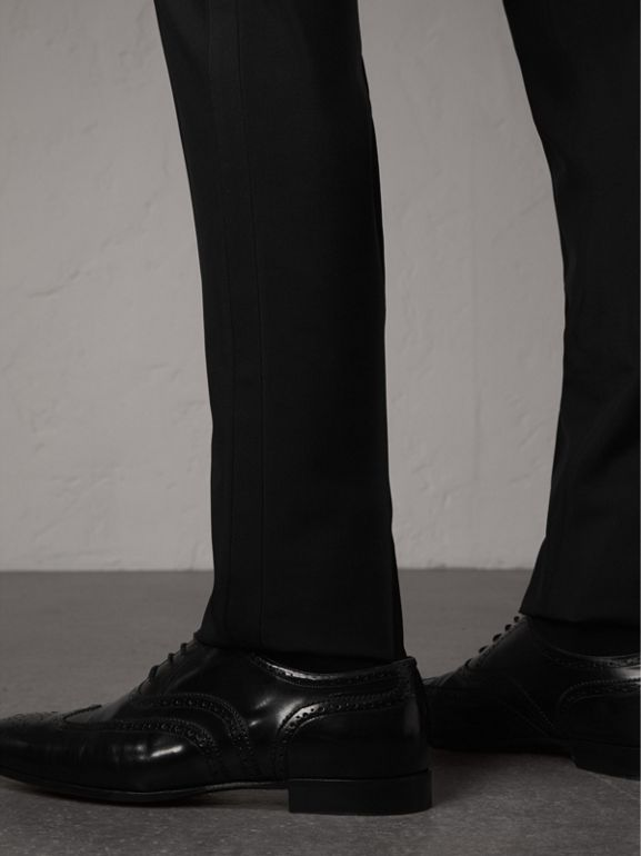 Slim Fit Wool Mohair Evening Trousers in Black - Men | Burberry Canada - cell image 1