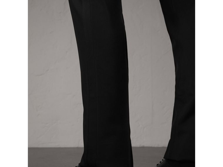 Slim Fit Wool Mohair Evening Trousers in Black - Men | Burberry Singapore - cell image 1