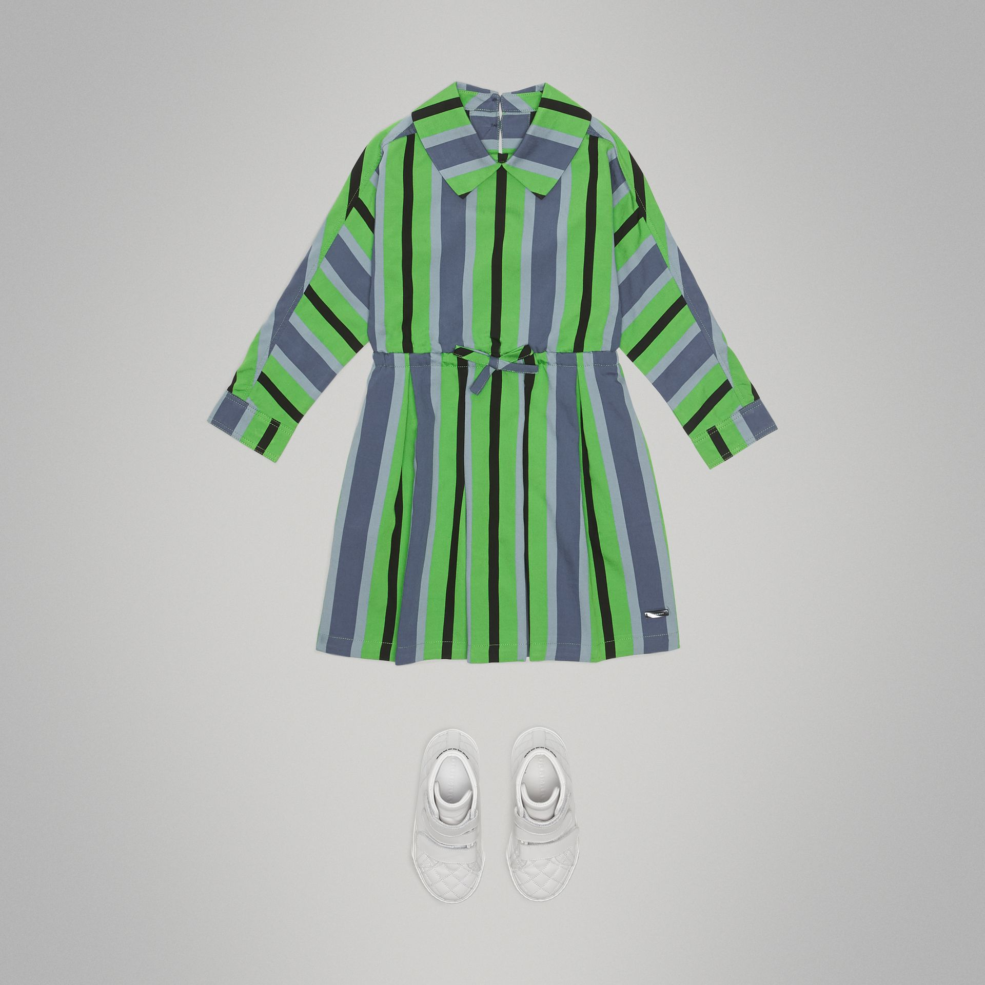 Striped Drawcord Dress in Teal - Girl | Burberry Canada - gallery image 2