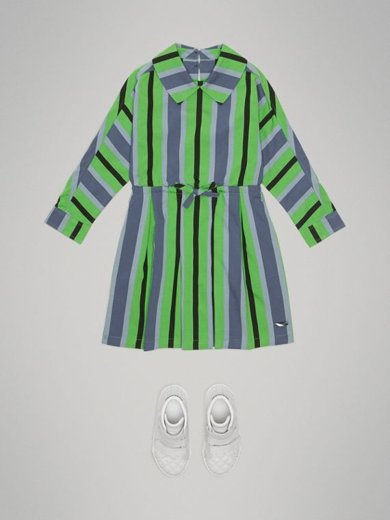 Striped Drawcord Dress in Teal - Girl | Burberry United Kingdom - cell image 2