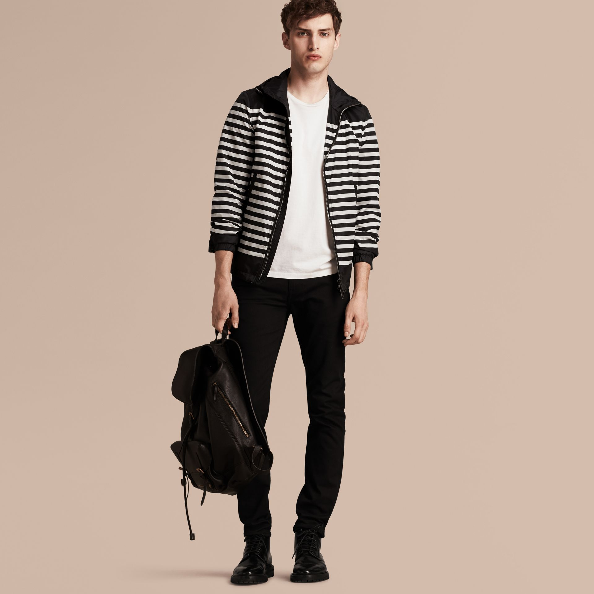 Black/white Striped Hooded Jacket - gallery image 1