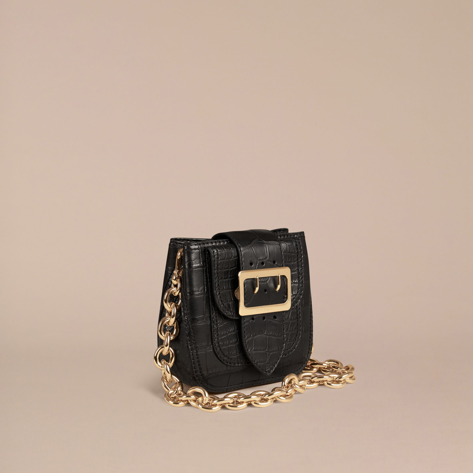 Black The Small Square Buckle Bag in Alligator Limited Edition - gallery image 1