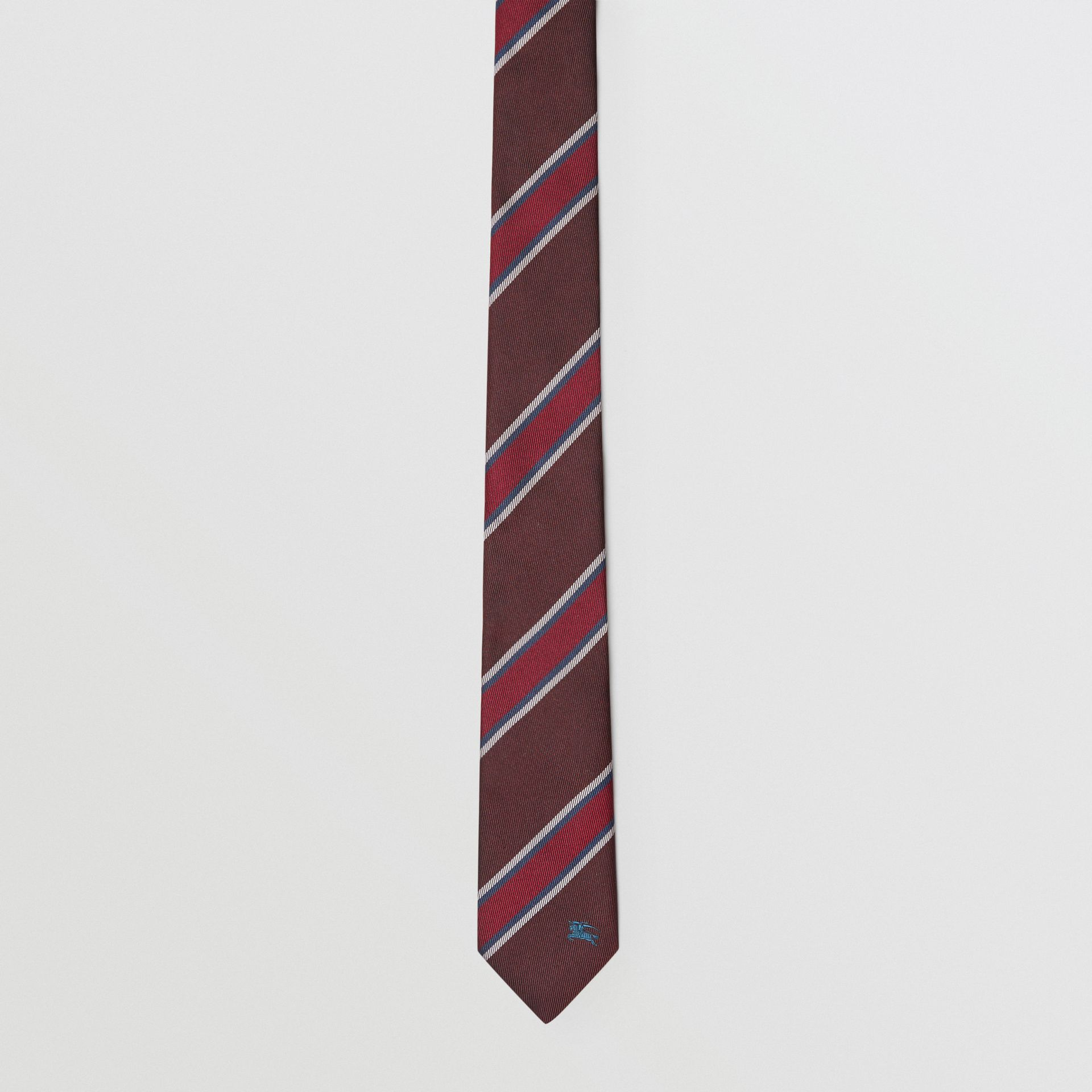 Slim Cut Striped Silk Jacquard Tie in Oxblood - Men | Burberry - gallery image 4