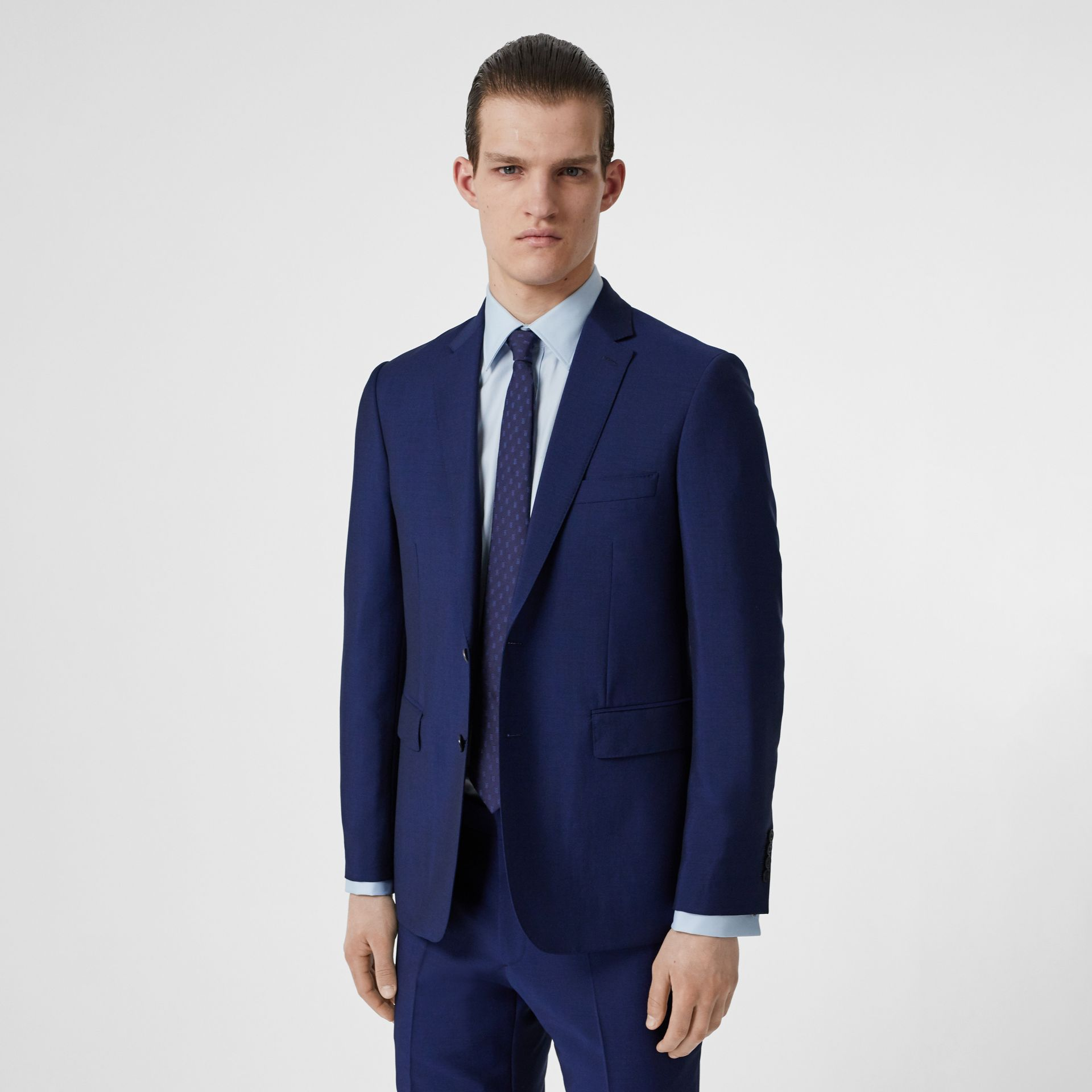 Slim Fit Wool Mohair Suit in Navy - Men | Burberry - gallery image 6
