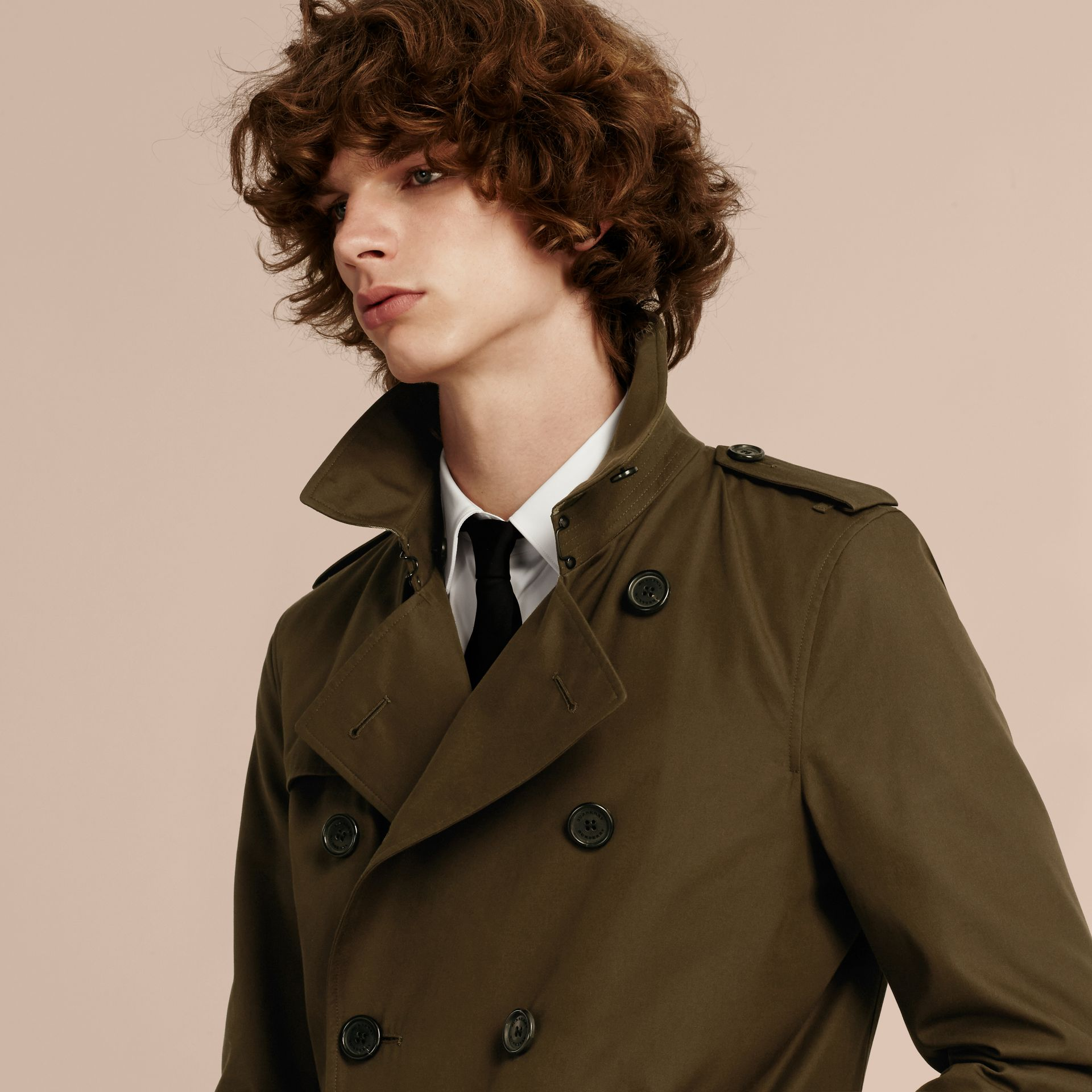 Detachable Shearling Topcollar Cotton Gabardine Trench Coat with Warmer in Olive Green - gallery image 6