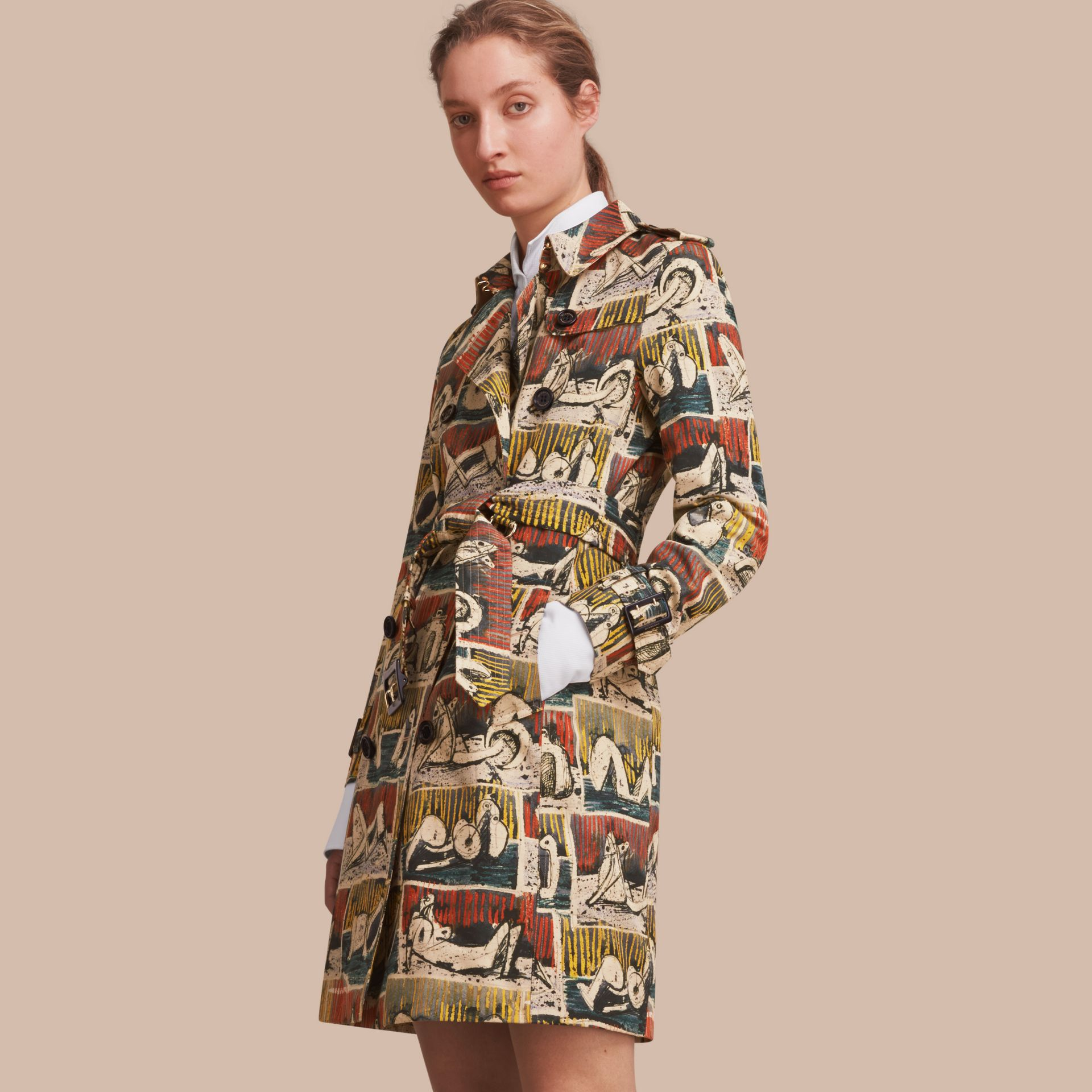 Reclining Figures Print Cotton Trench Coat in Stone Blue - Women | Burberry - gallery image 1