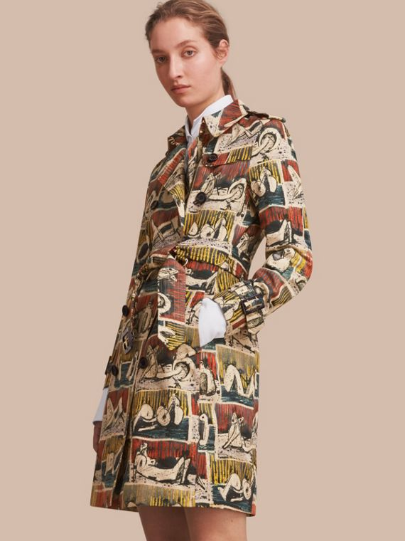 Trench coat in cotone con stampa Reclining Figures