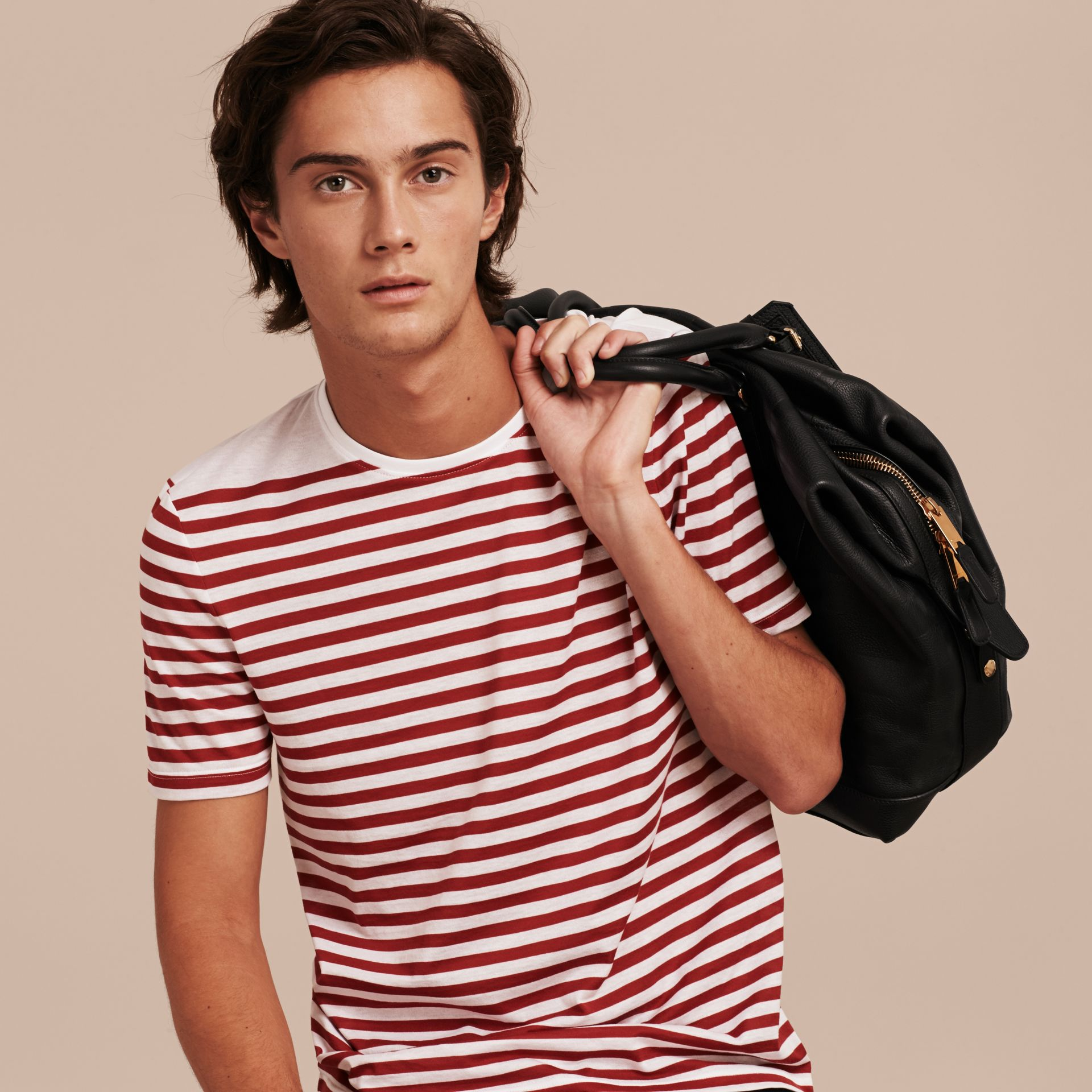 Rust red Striped Cotton T-shirt Rust Red - gallery image 5