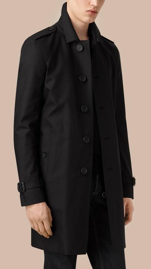Black Cotton Gabardine Trench Coat - Image 3