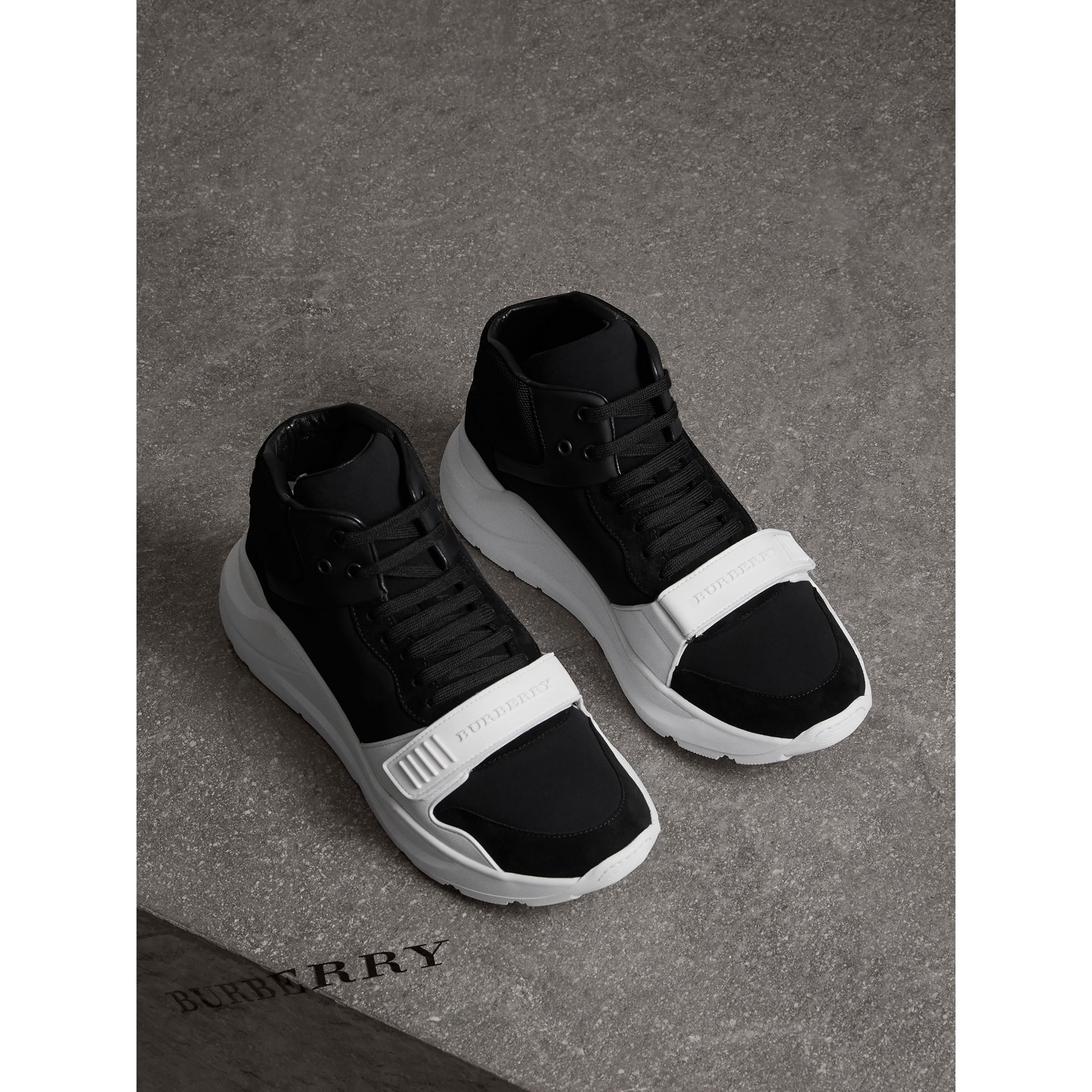 Suede Trim Neoprene High-top Sneakers in Black/optic White | Burberry Canada - gallery image 4