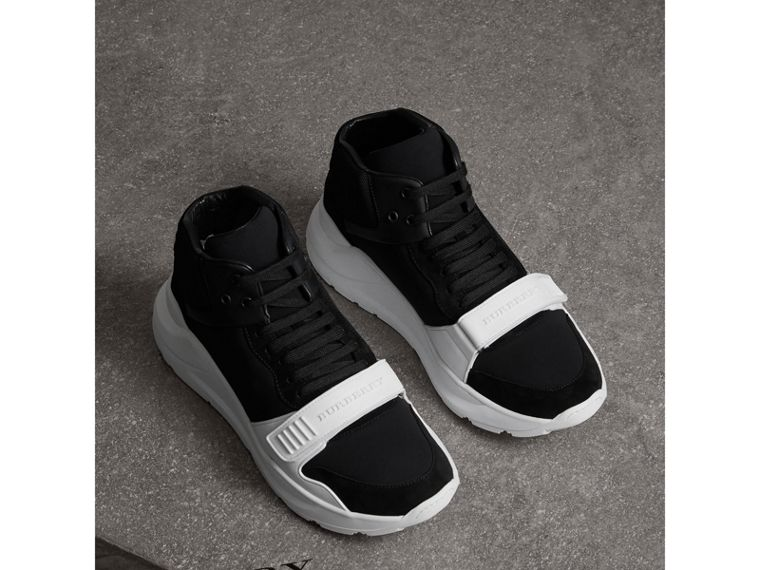 Suede Trim Neoprene High-top Sneakers in Black/optic White | Burberry Canada - cell image 4