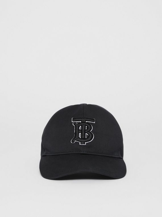 Monogram Motif Baseball Cap in Black / Black