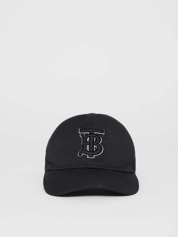 Monogram Motif Baseball Cap in Black / Black | Burberry - cell image 2