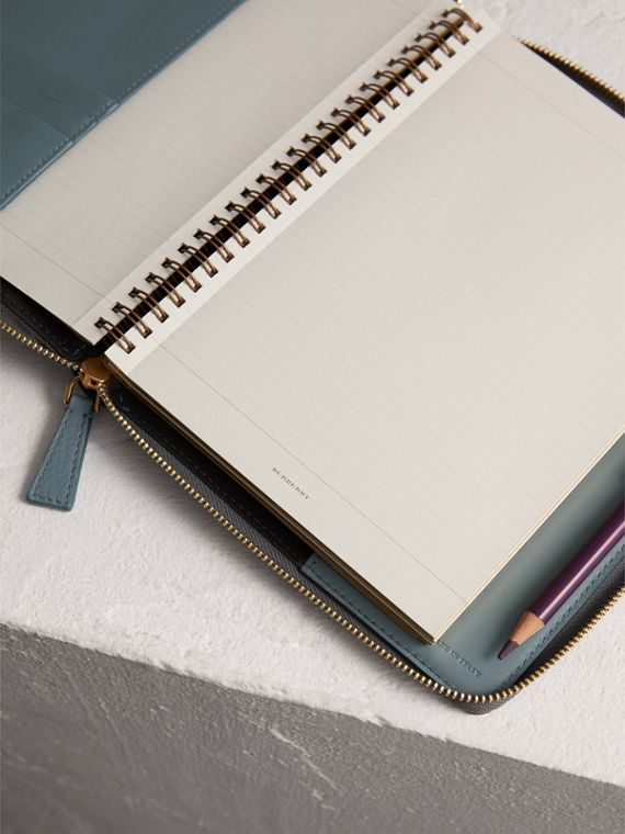 Embossed Leather Ziparound A5 Notebook Case in Dusty Teal Blue | Burberry United Kingdom - cell image 3
