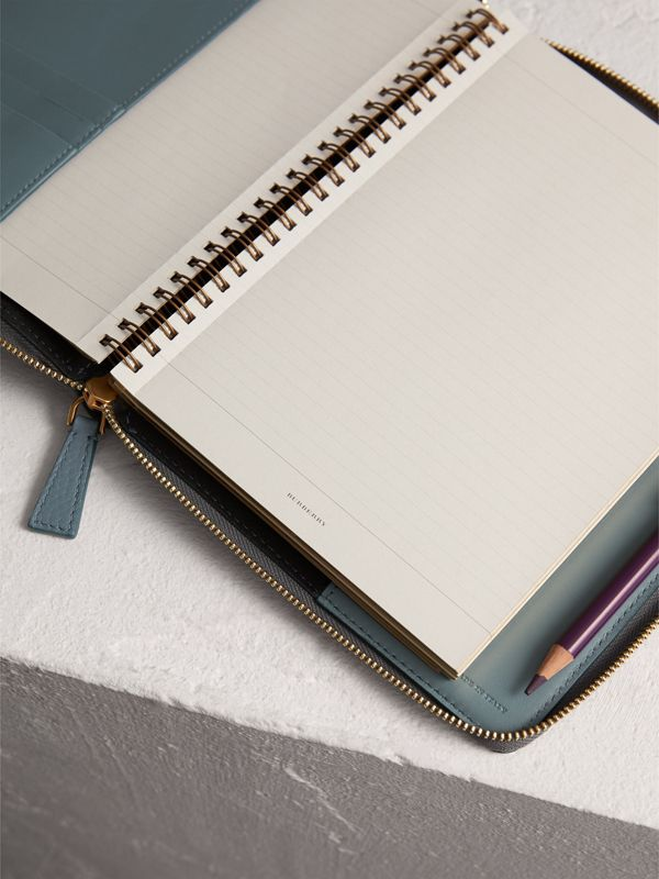 Embossed Leather Ziparound A5 Notebook Case in Dusty Teal Blue | Burberry - cell image 3