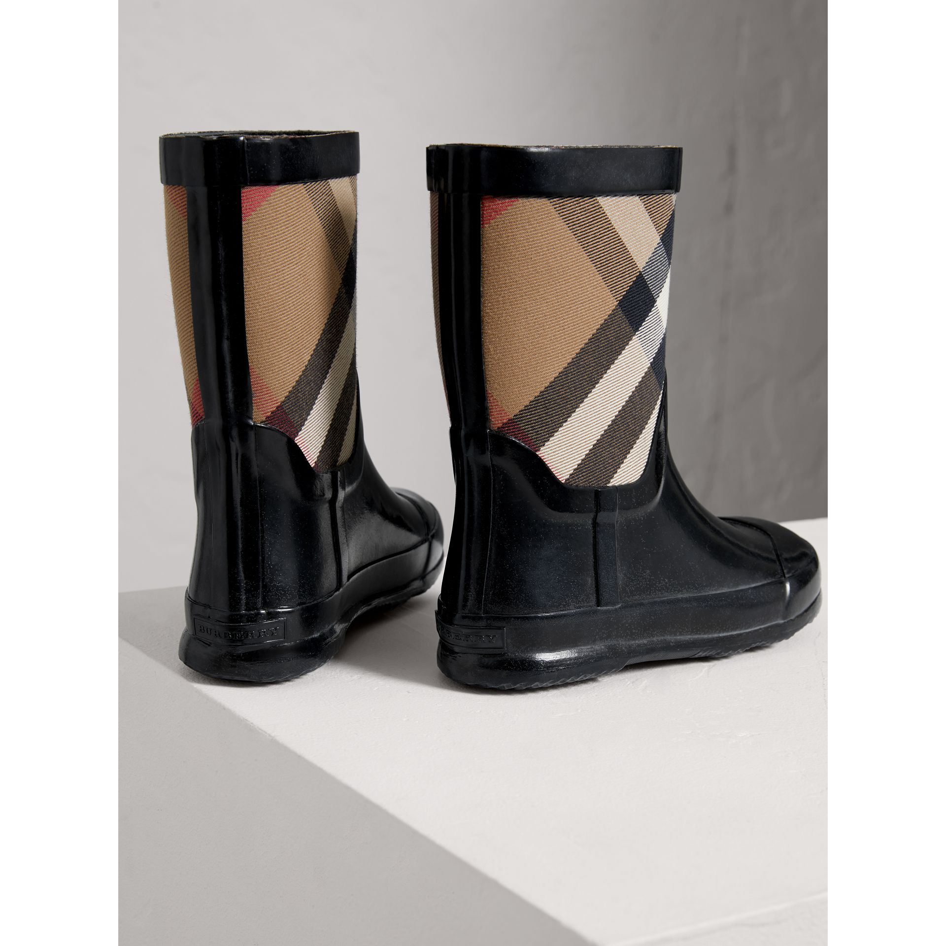 House Check Panel Rain Boots in Black | Burberry Australia - gallery image 2