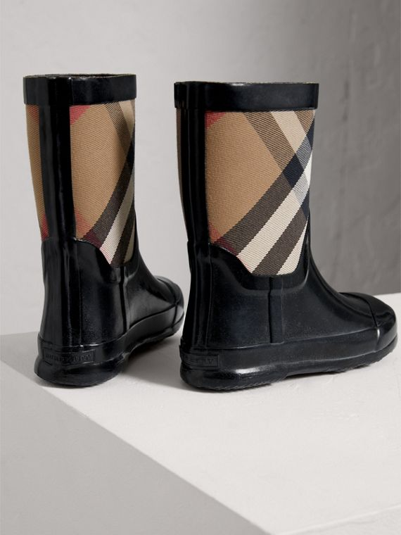 House Check Panel Rain Boots in Black | Burberry - cell image 2