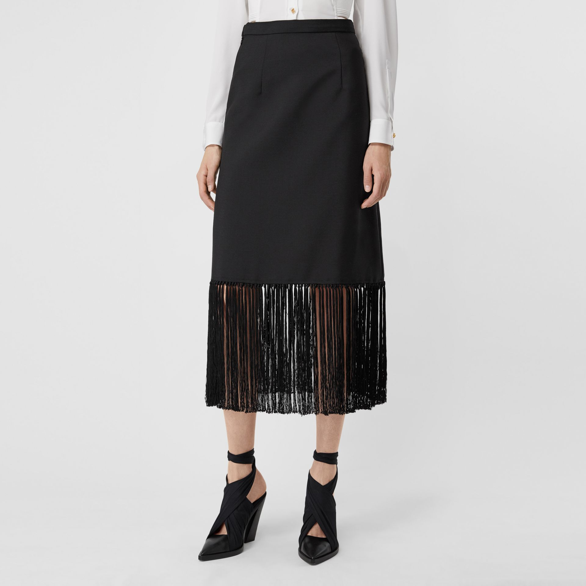 Fringed Mohair Wool A-line Skirt in Black - Women | Burberry Australia - gallery image 4