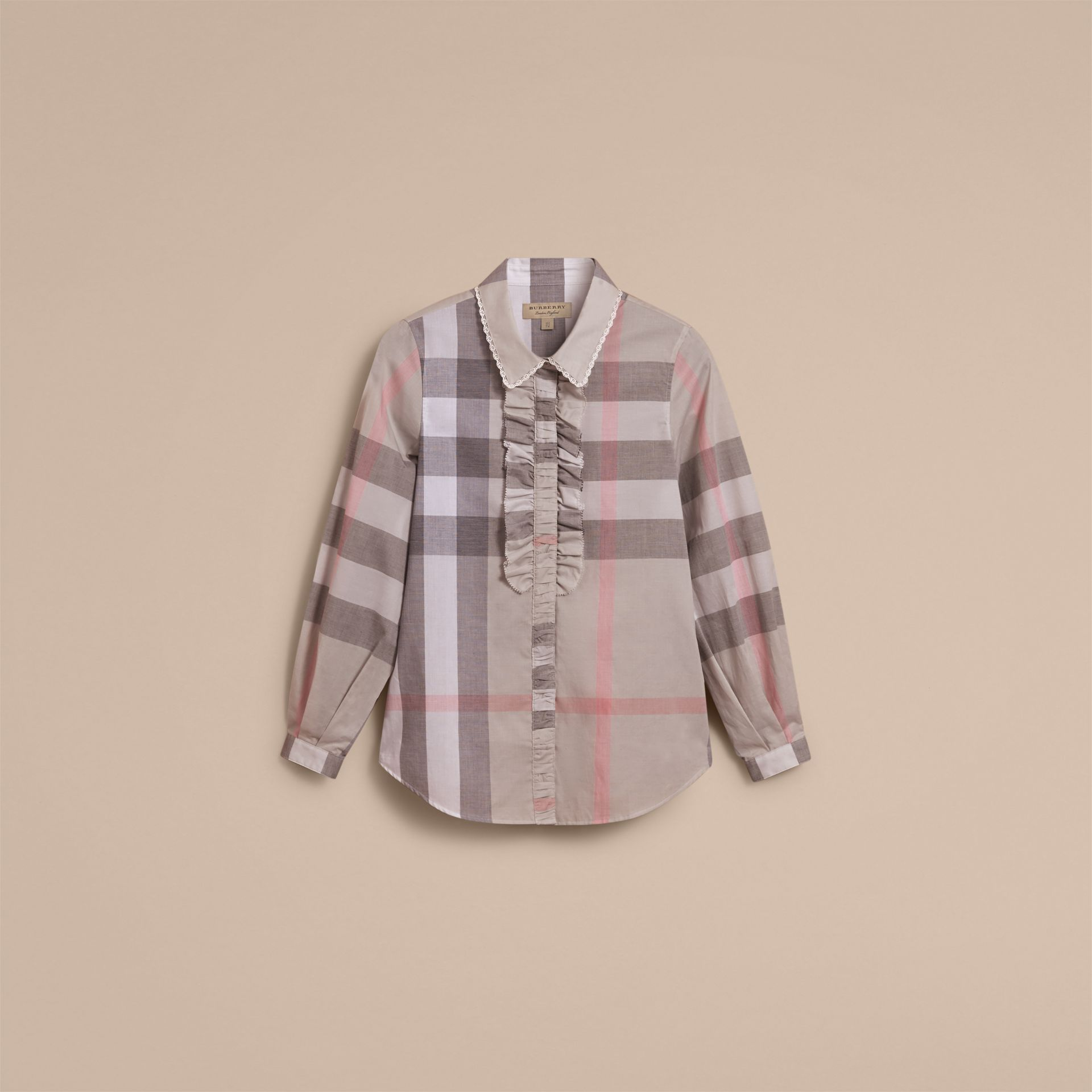 Ruffle Detail and Lace Trim Check Cotton Shirt in Pale Taupe - Women | Burberry - gallery image 3