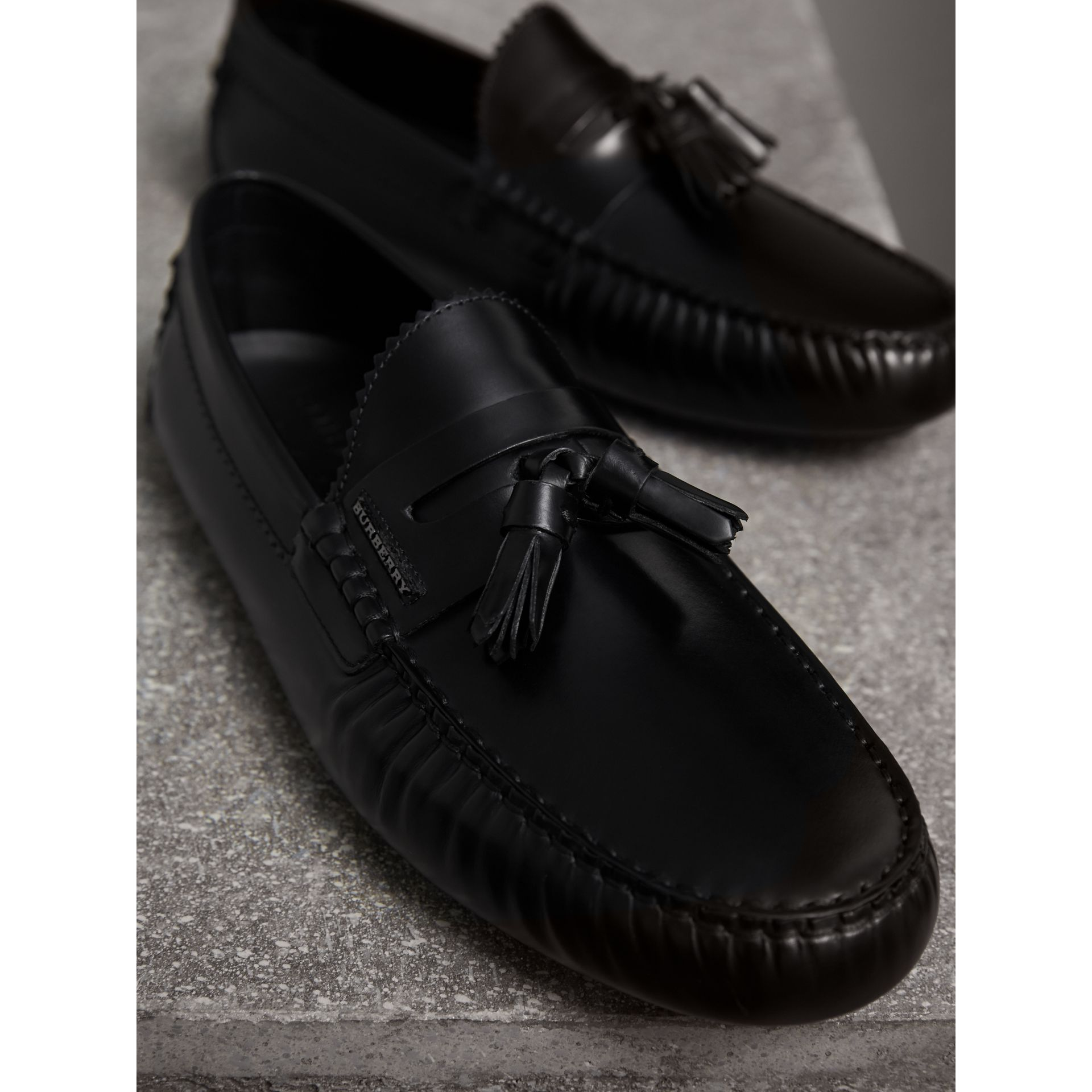 Tasselled Polished Leather Loafers in Black - Men | Burberry - gallery image 4