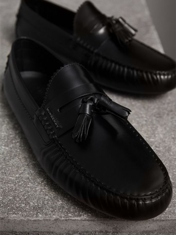 Tasselled Polished Leather Loafers in Black - Men | Burberry - cell image 3