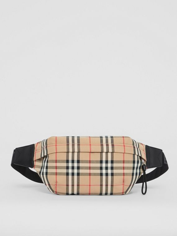 Medium Vintage Check Bonded Cotton Bum Bag in Archive Beige